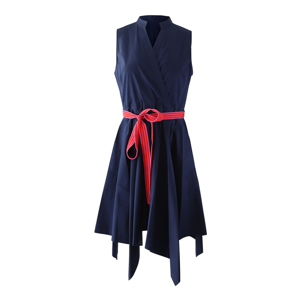 DVF Marlene Cotton Asymmetrical Hem Dress Navy
