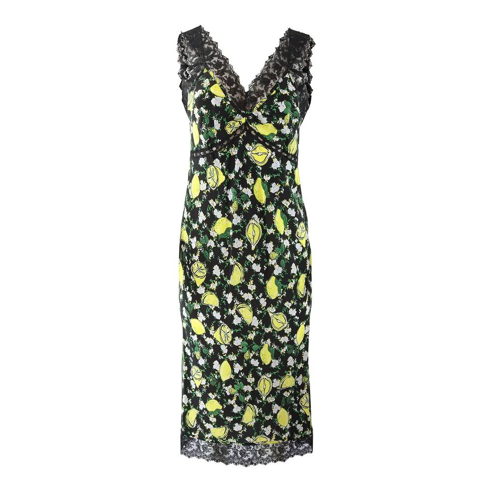 DVF Issey Lemon Slip Dress Black/yellow