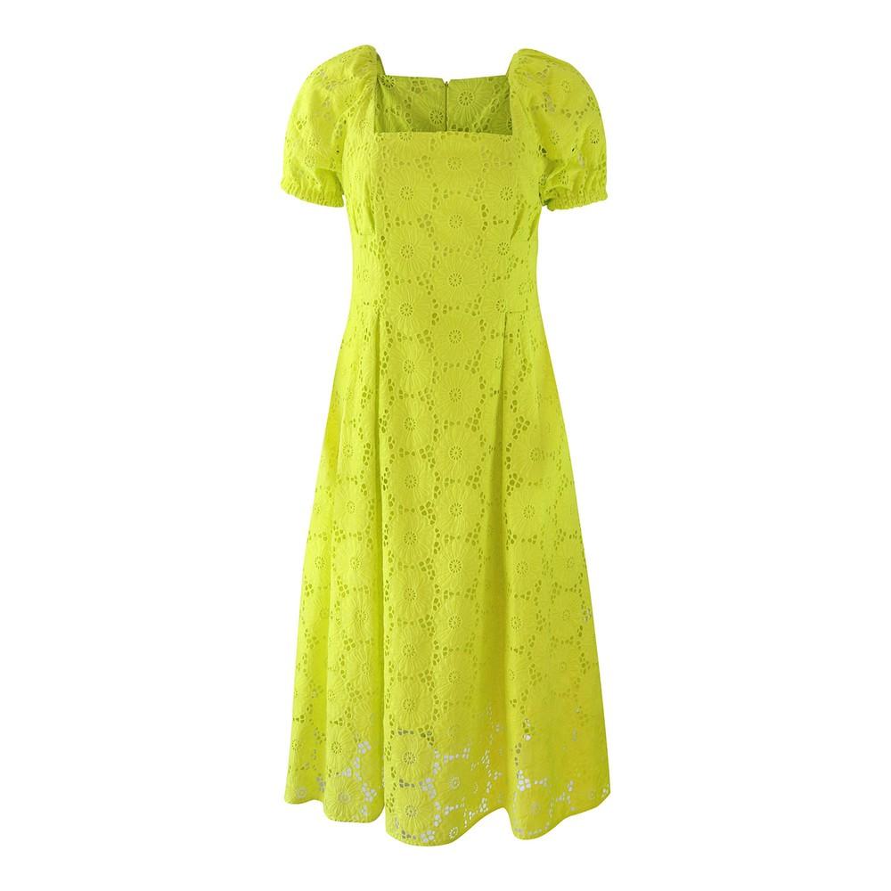 DVF Helena Sulphur Cotton Embroidery Anglaise Dress Yellow