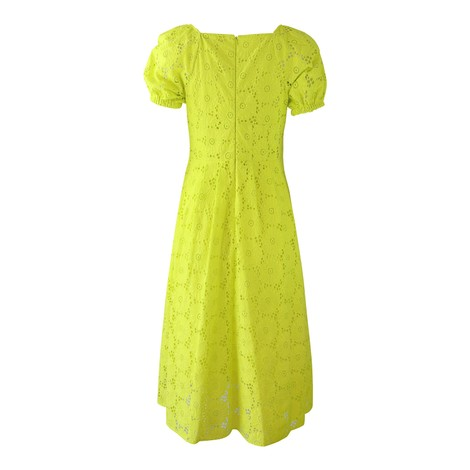 DVF Helena Sulphur Cotton Embroidery Anglaise Dress