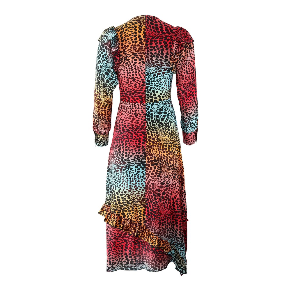 Hayley Menzies Ombre Crocodile Midi Frill Dress Multi