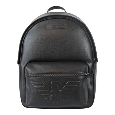 Emporio Armani Leather Backpack with Maxi Eagle