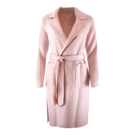 Michael Kors Pink Tie Belt Coat