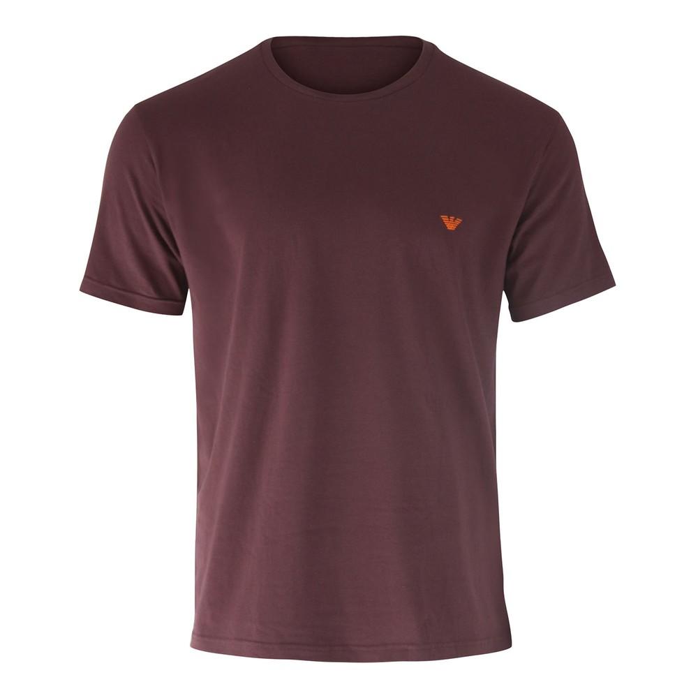 Emporio Armani Stretch T-Shirt - Raised Stitch Eagle Logo Burgundy