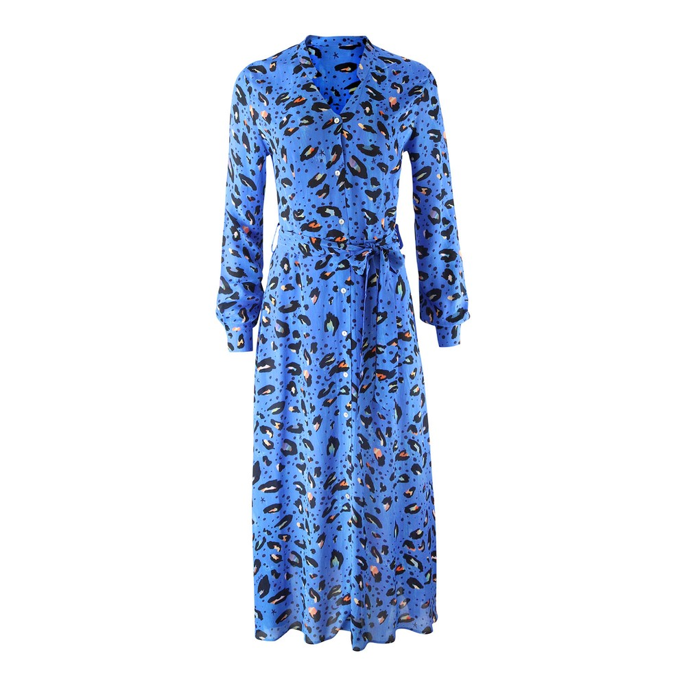 Pyrus Ophelia Long Animal Print Shirt Dress Blue