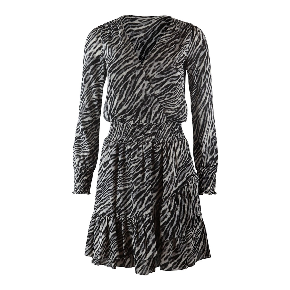 Michael Kors Safari Ruffle Dress Grey Metallic