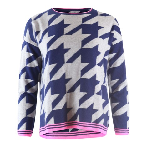 Cocoa Cashmere Navy & Grey Graphic Pattern Cashmere Knit