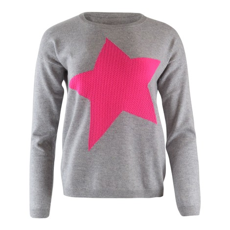 Cocoa Cashmere Cloudy Grey Cashmere Knit with a Bright Pink Star