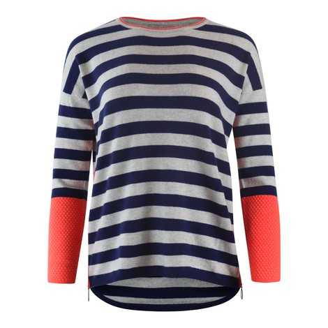 Cocoa Cashmere Navy and Cloud Grey Striped Cashmere Knit