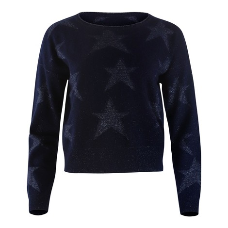 Cocoa Cashmere Navy Blue Cashmere Knit with Silver Stars