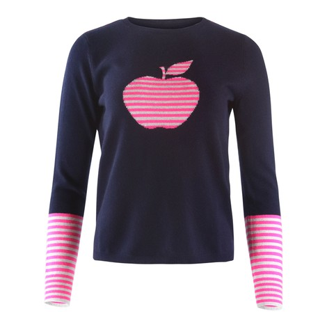 Cocoa Cashmere Navy Cashmere Knit with Apple Motif
