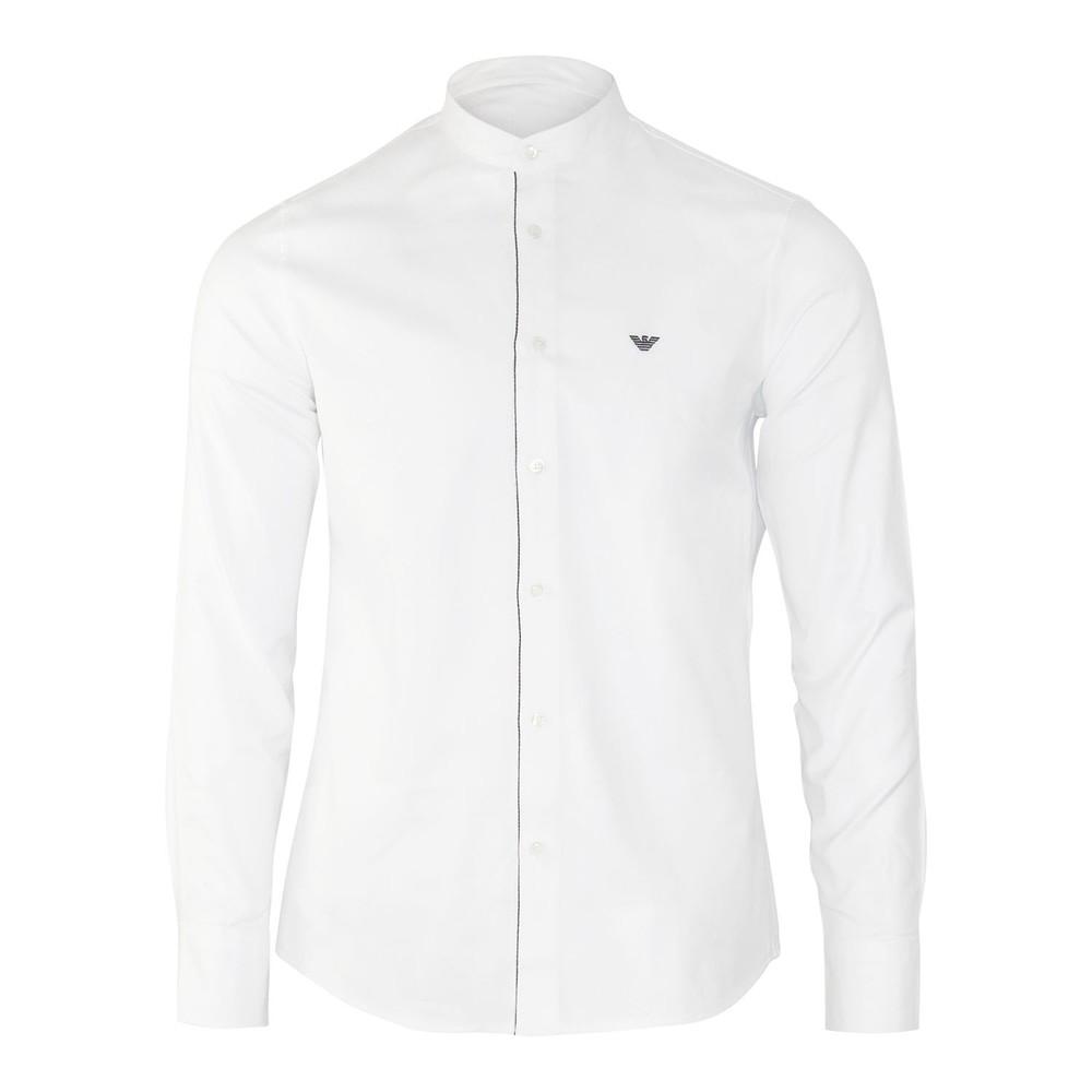 Emporio Armani Cotton Twill Shirt with Detachable Double Collar White