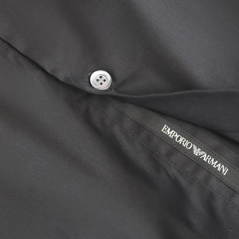 Emporio Armani Stretch Poplin Shirt with Armani Logo Tape Black