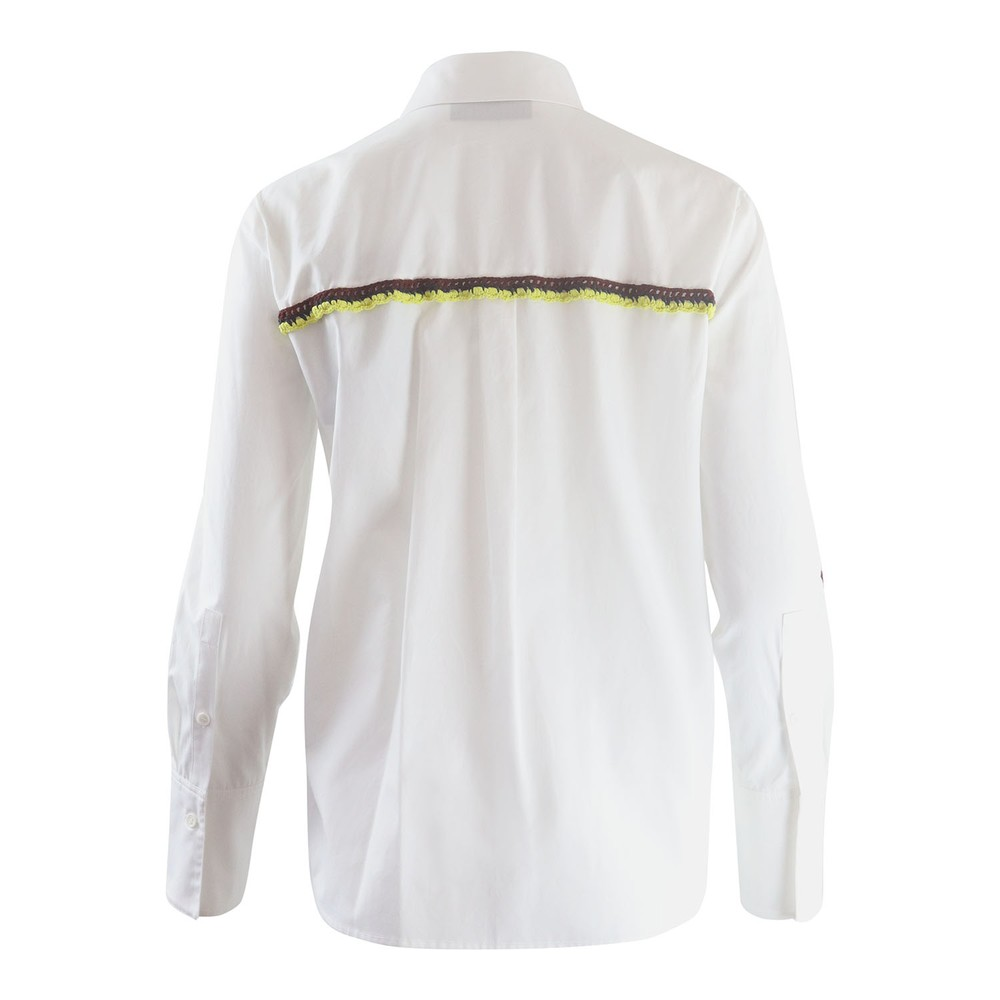Sportmax Code Aceti Longsleeve Cotton Blouse with Crochet Trim White