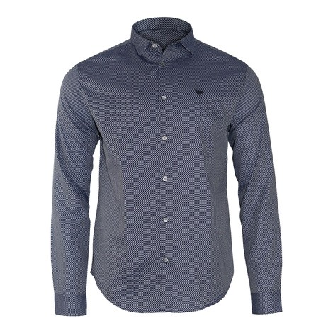 Emporio Armani Diamond Jacquard Pattern Dyed-Thread Shirt
