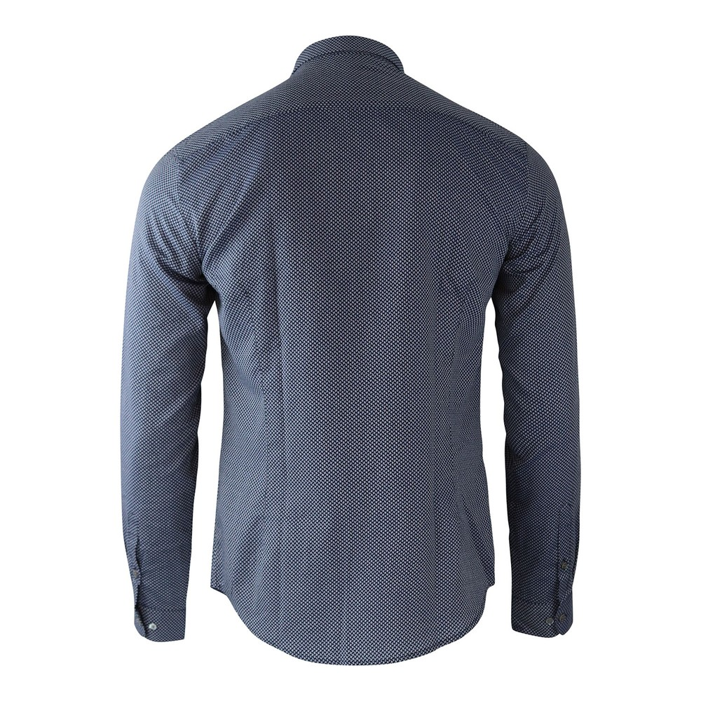 Emporio Armani Diamond Jacquard Pattern Dyed-Thread Shirt Blue