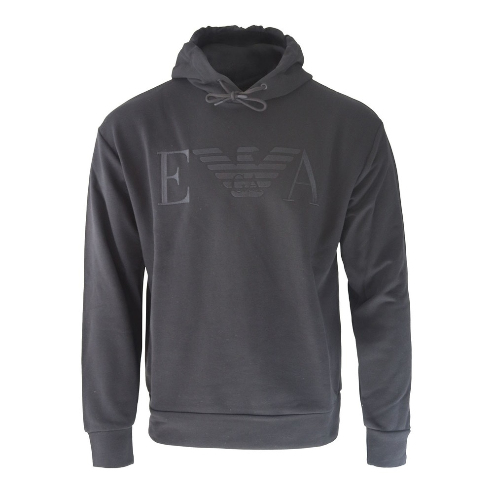 Emporio Armani Hooded Sweatshirt with Embroidered Logo Black