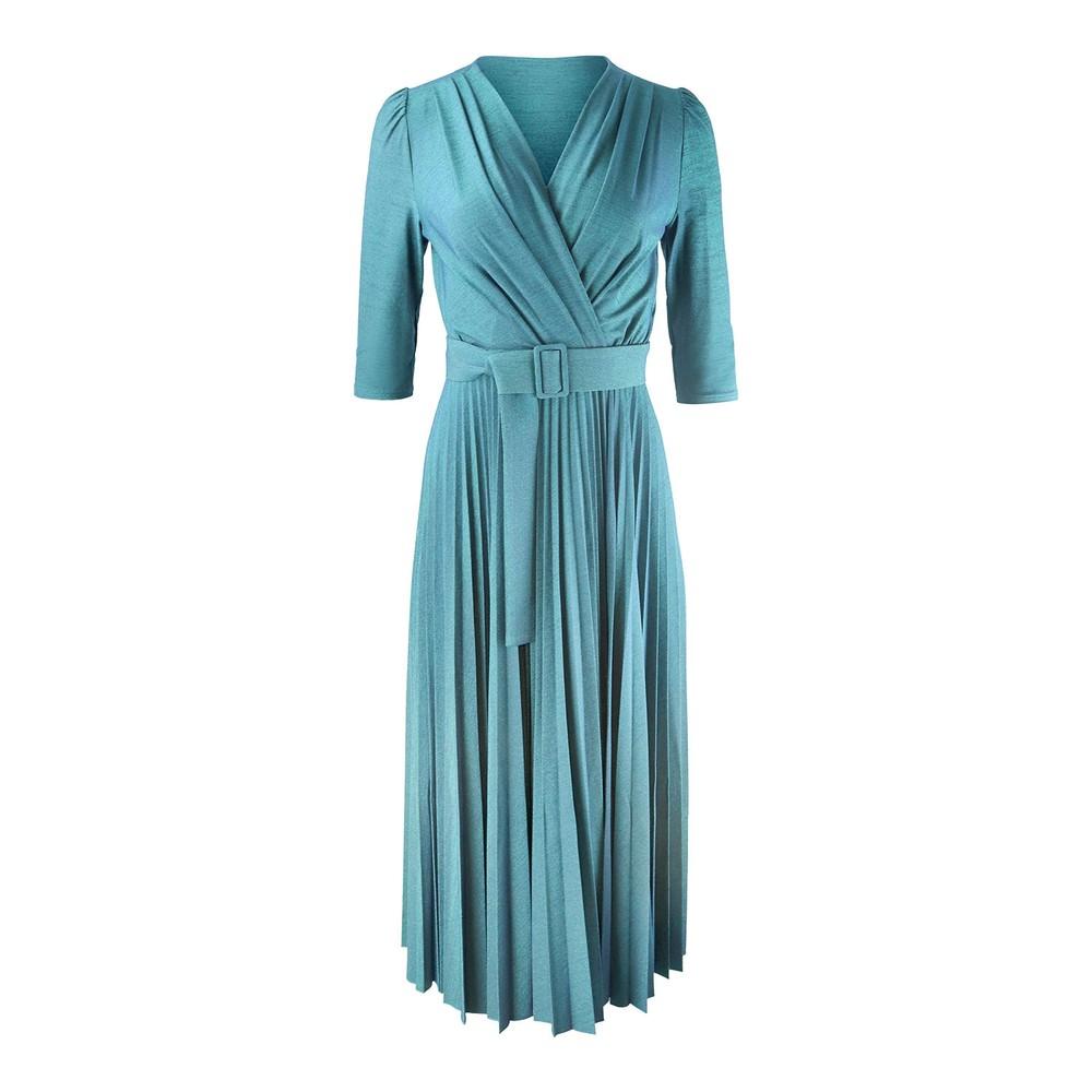 Marella Adesso 3/4 Sleeve Sparkle Midi Dress Green