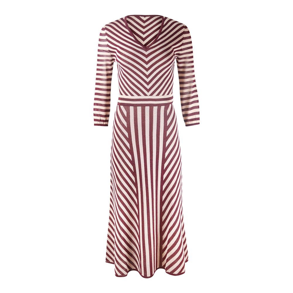 Marella Long Sleeve Stripe Sparkle Midi Dress Bordeaux