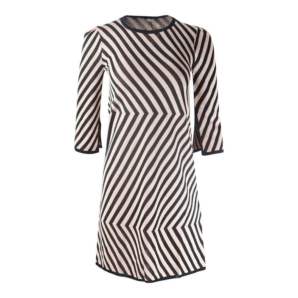 Marella Striped Short Dress Black