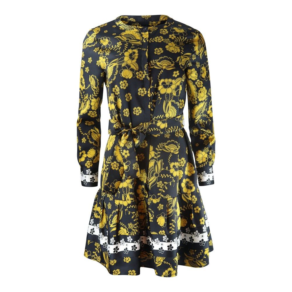 Marella Ferrara Longsleeve Print Dress Black and Yellow