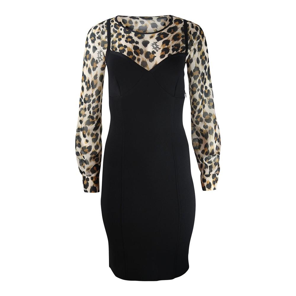 Moschino Boutique Leopard Print Corset Dress Black