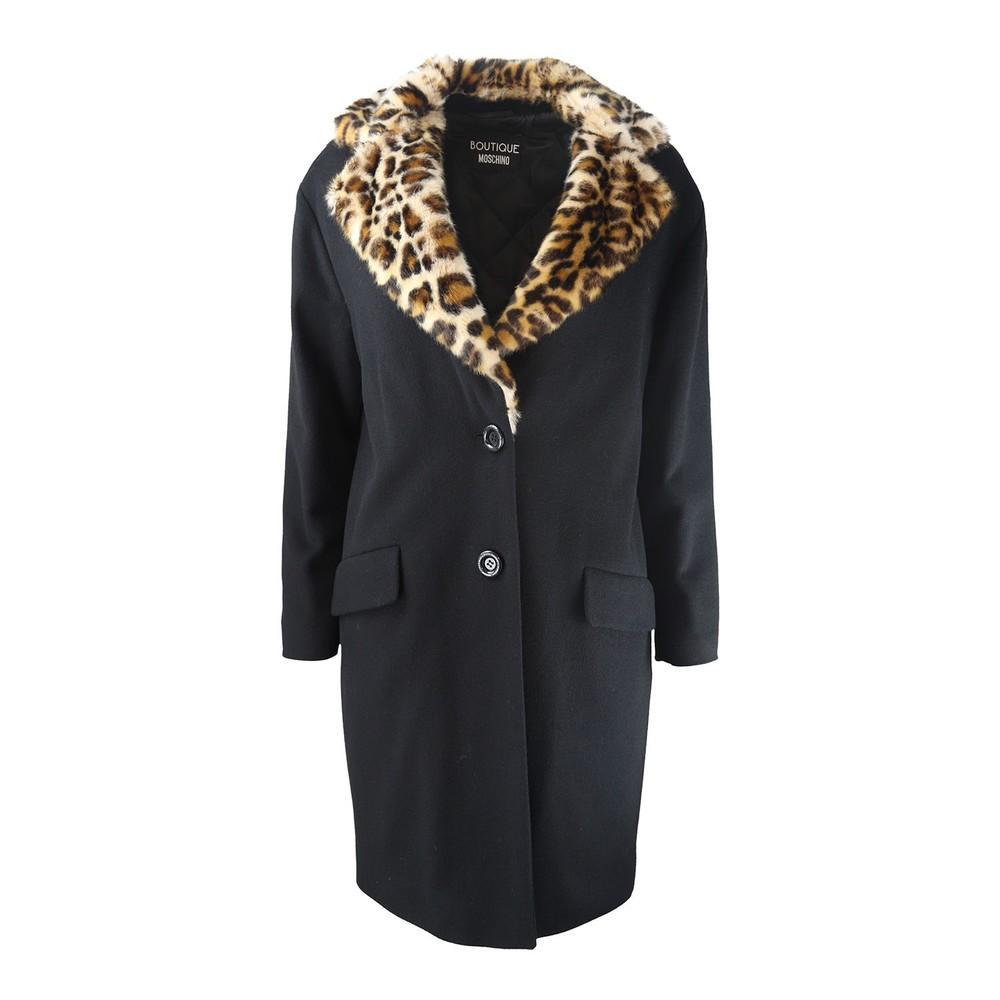 Moschino Boutique Leopard Trim Coat Black