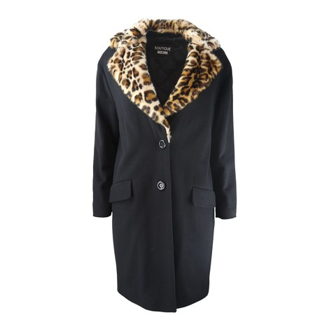 Moschino Boutique Leopard Trim Coat
