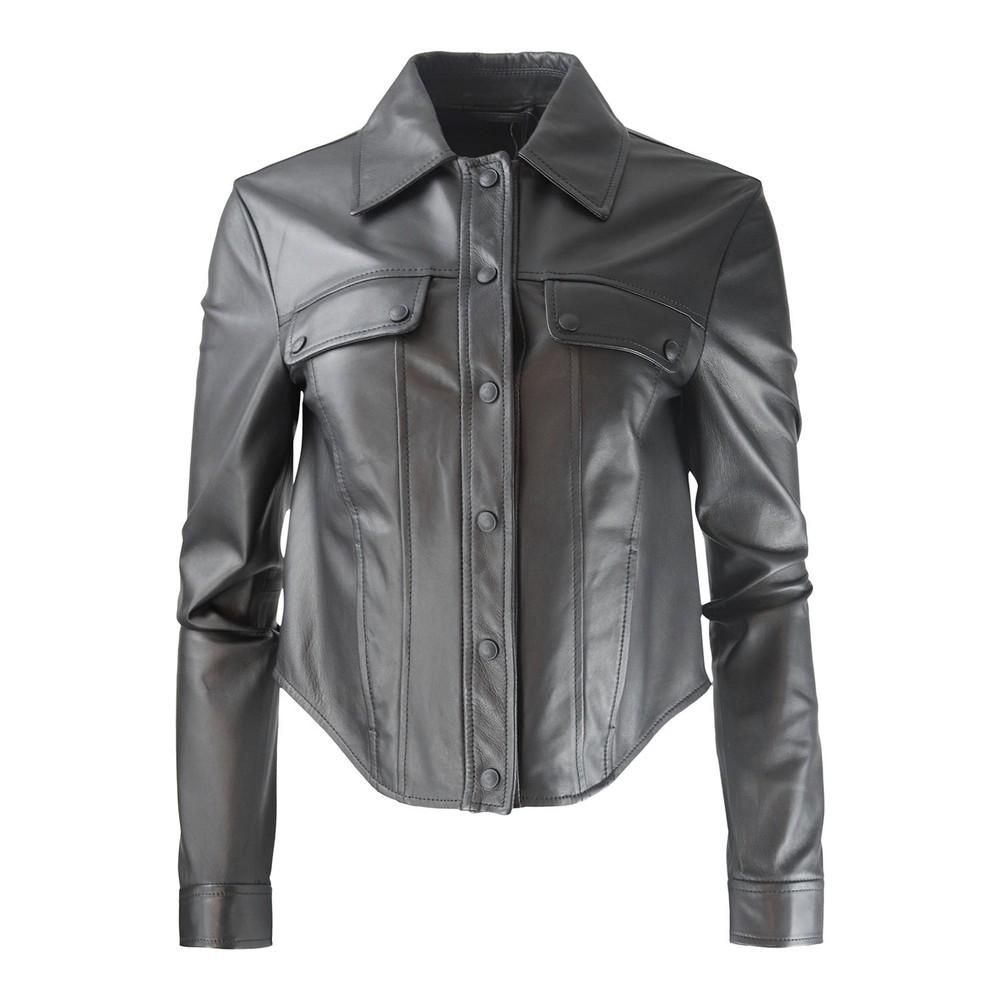 Sportmax Ghirba Leather Jacket Black