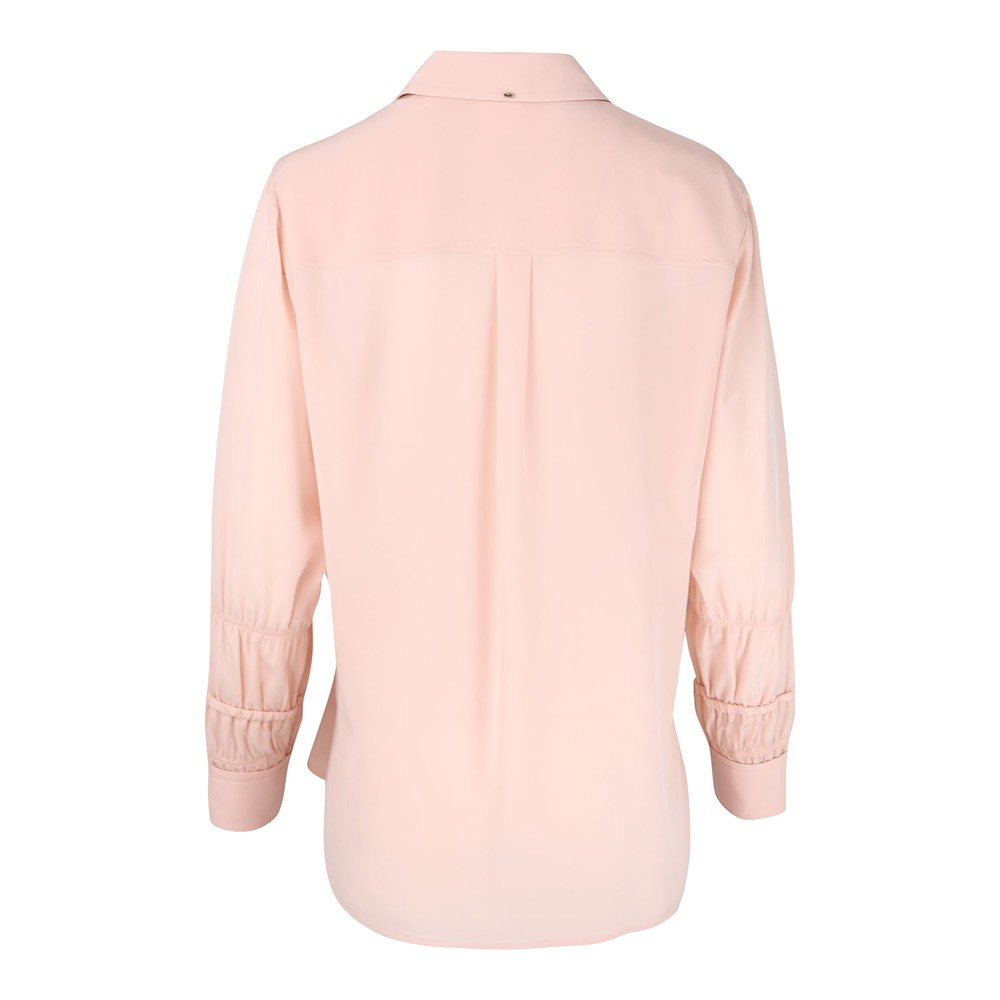 Sportmax Glauco Long Sleeve Silk Shirt Pink