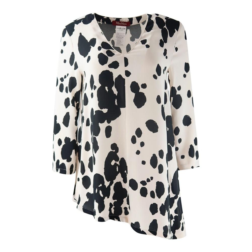 Maxmara Studio Asymet Cow Print Blouse Black and Cream