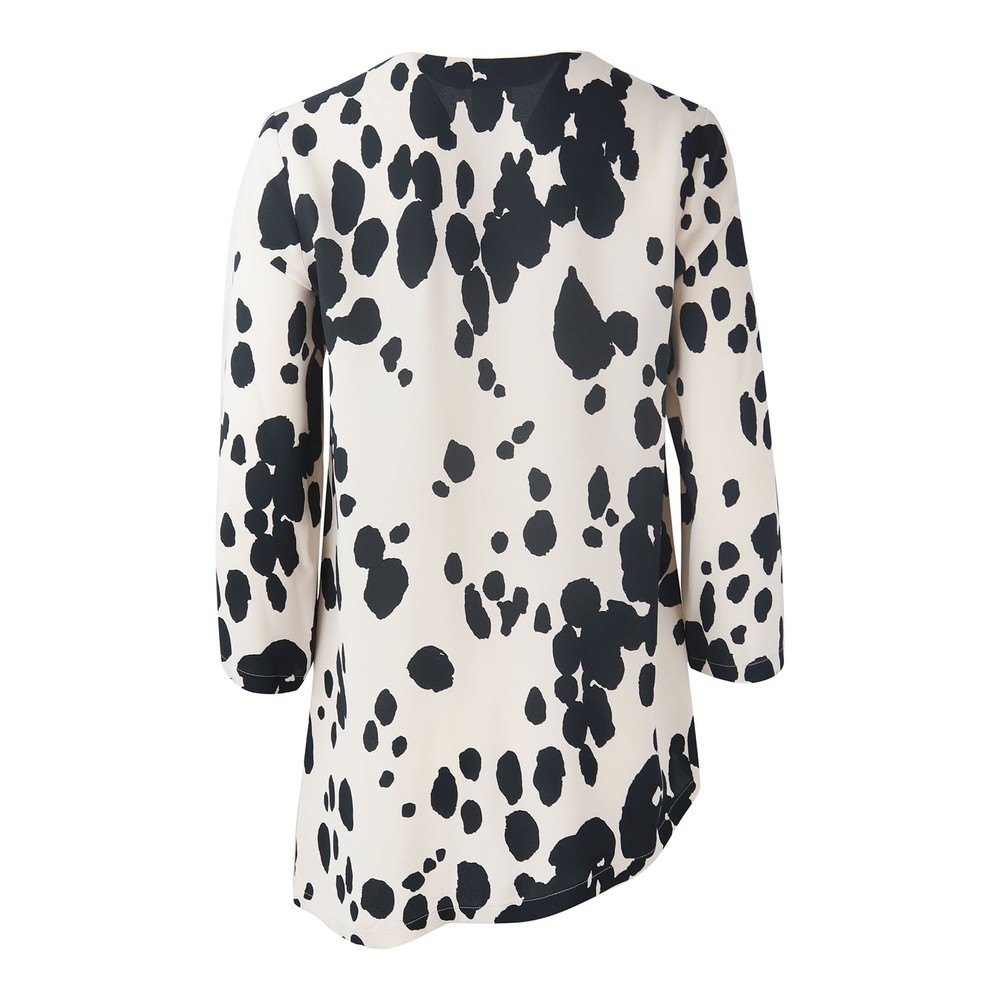 Maxmara Studio Asymet Cow Print Blouse Black and Cream
