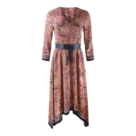 Maxmara Studio Paisley V Neck Dress