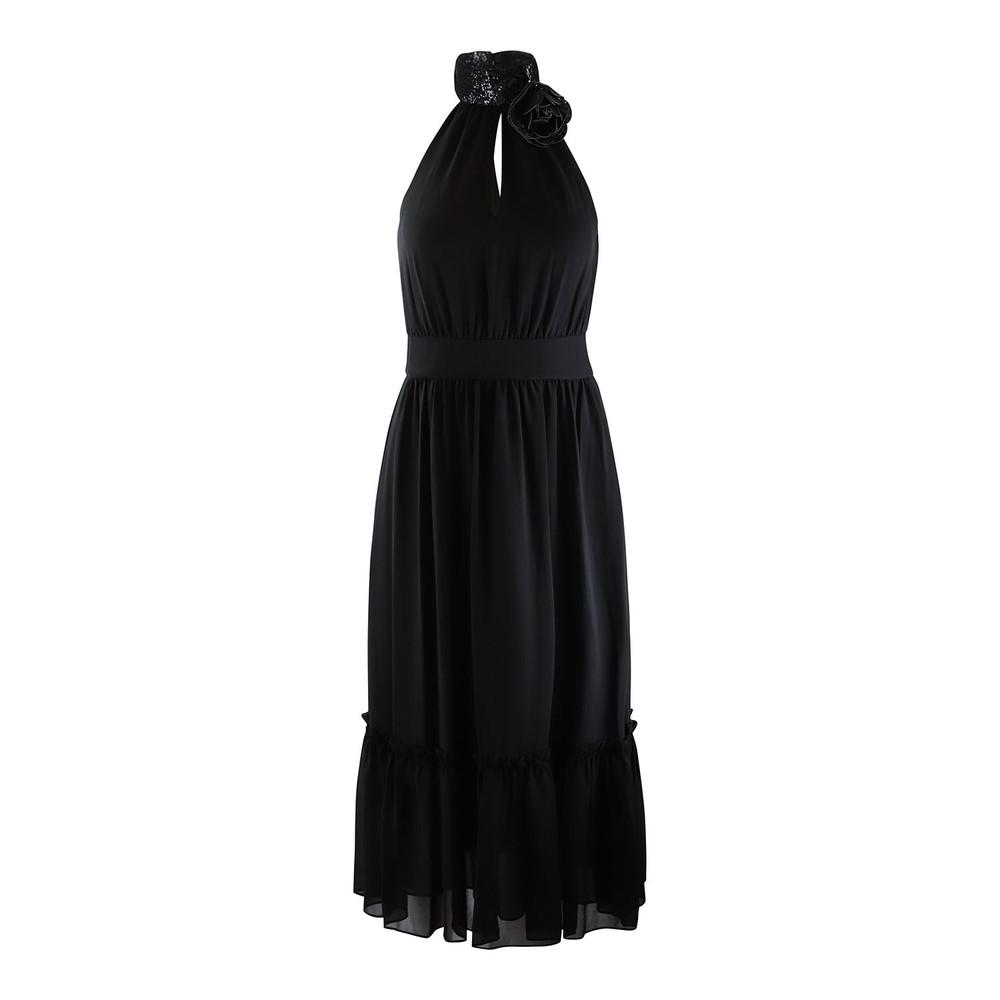 Michael Kors Sequin Halterneck Midi Dress Black