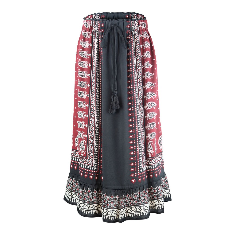 Set Maxi Skirt with Aztec Print Black and Red