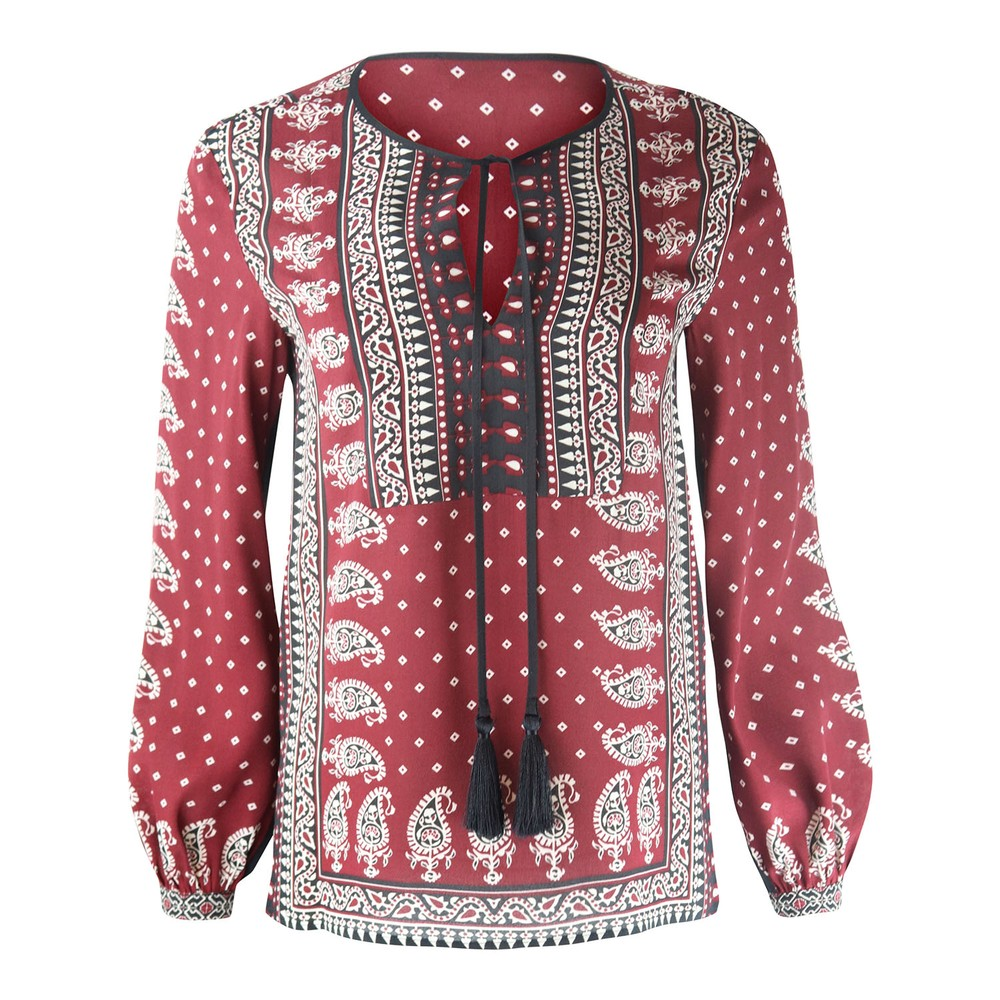 Set Aztec Pattern Blouse Black and Red
