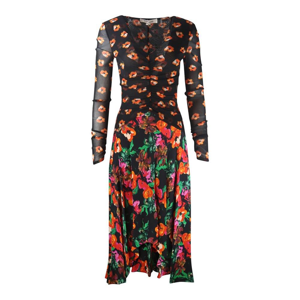 DVF Linia Floral Mesh Dress Black/Multi
