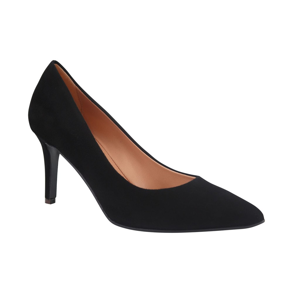Aristocrat Camoscio Suede Lower Heel Court Shoe Black