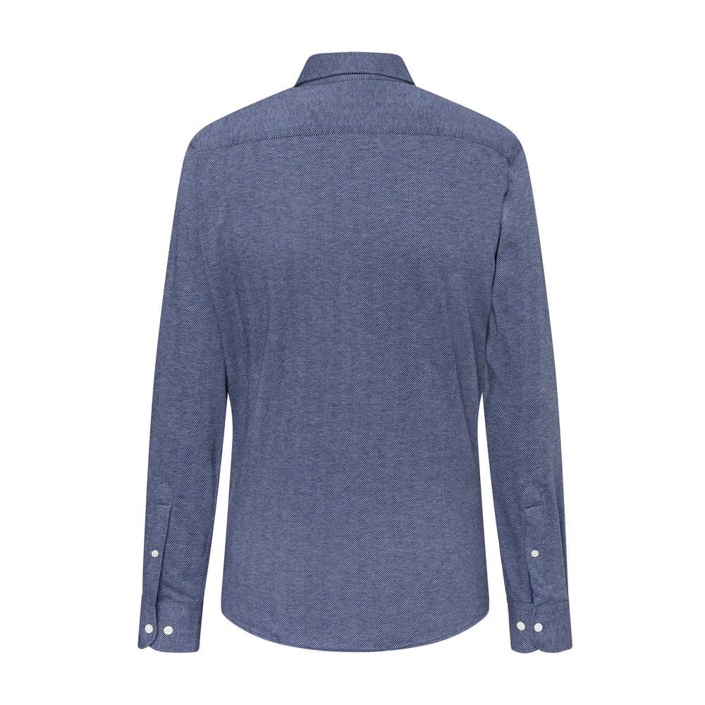 Hackett Herringbone Jersey Shirt Blue