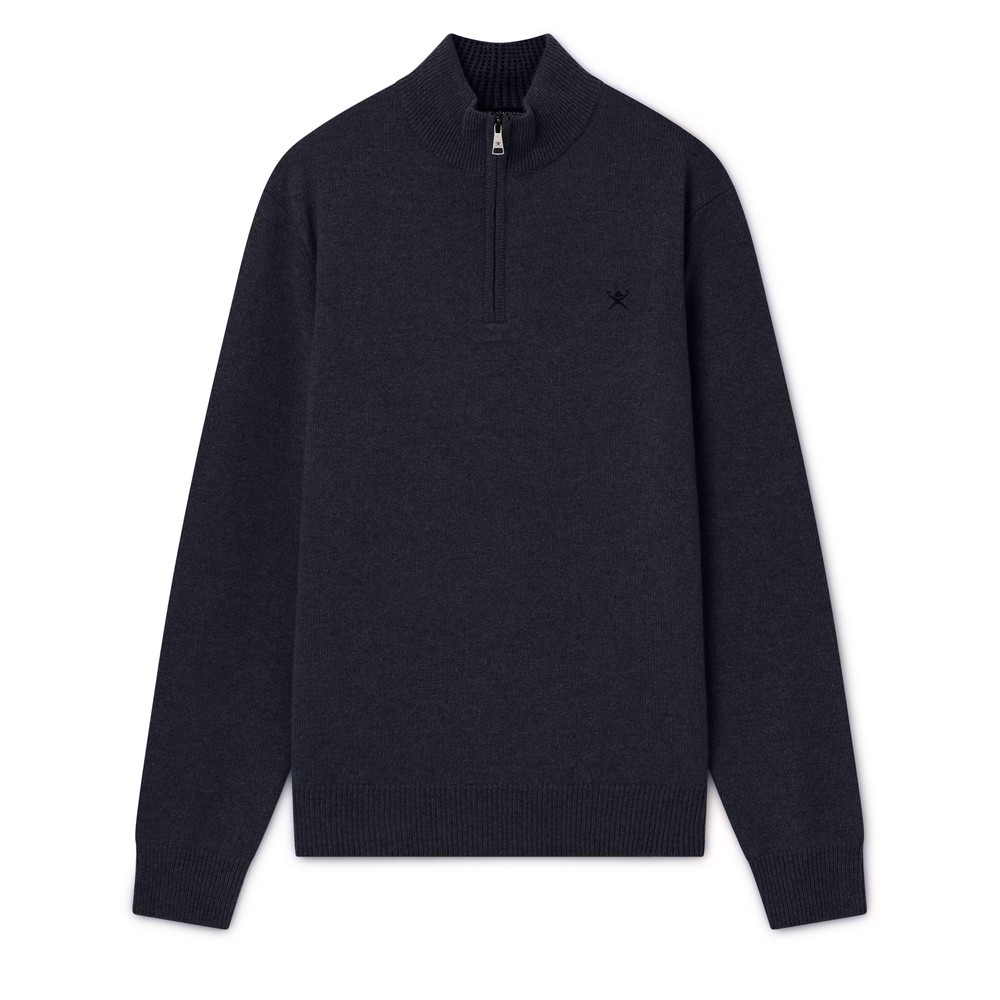 Hackett Lambswool Half Zip Sweater Navy