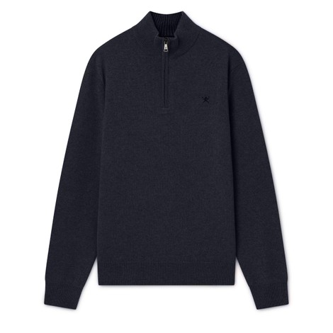 Hackett Lambswool Half Zip Sweater in Navy