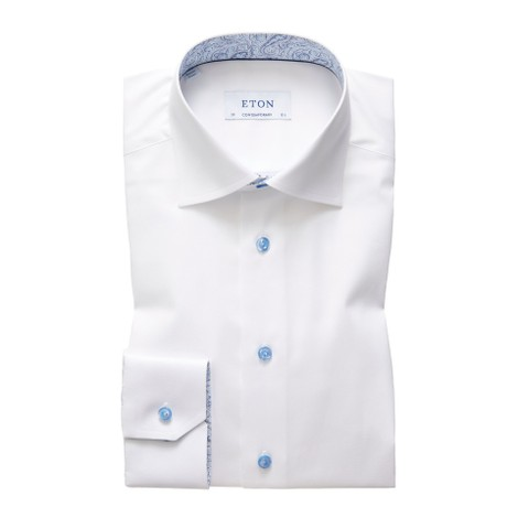 Eton Contemporary Fit White Twill Shirt - Paisley Detail Blue Buttons