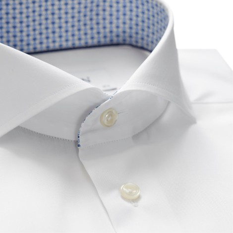 Eton Slim Fit White Poplin Shirt – Floral Print Details