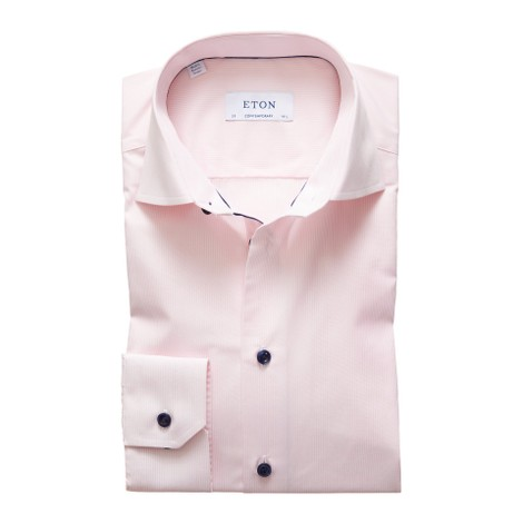 Eton Contemporary Fit Pink Fine Striped Poplin Shirt – Navy Details