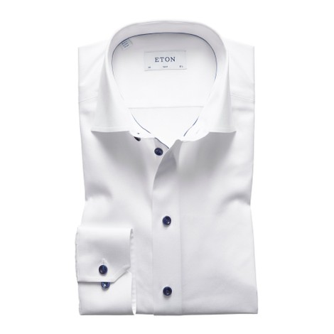 Eton Slim Fit White Twill Shirt With Navy Details