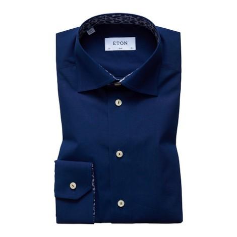 Eton Slim Fit Navy Shirt - Palm Print Details