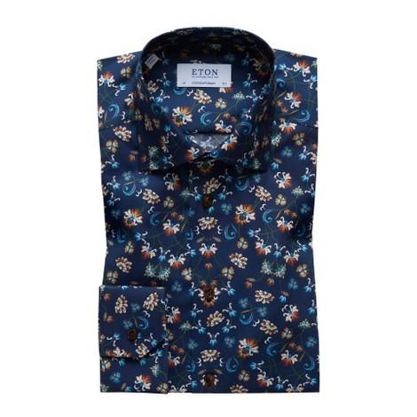 Eton Contemporary Fit Navy Floral Print Shirt