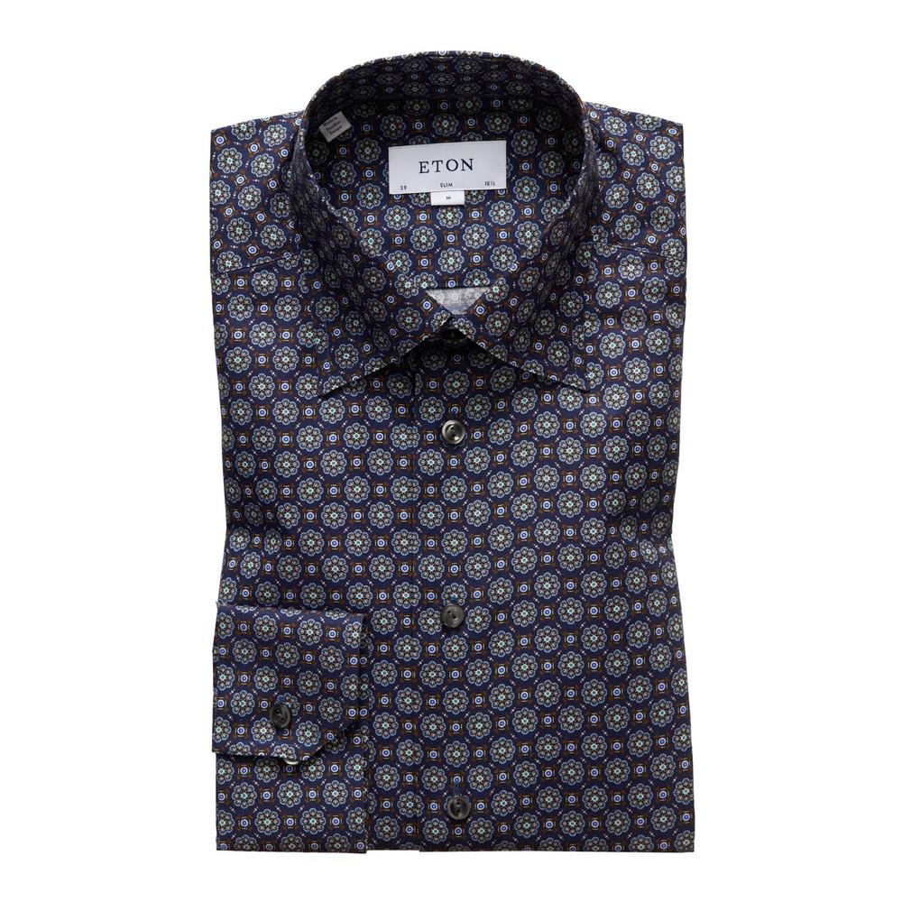 Eton Slim Fit Navy Medallion Print Twill Shirt Navy