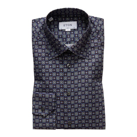 Eton Slim Fit Navy Medallion Print Twill Shirt