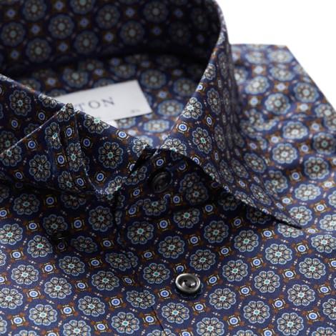 Eton Slim Fit Navy Medallion Print Twill Shirt